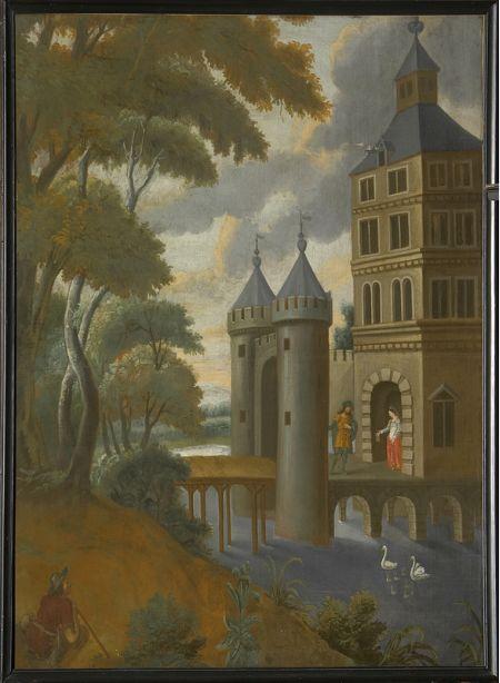 alena op de dorpel van het kasteel