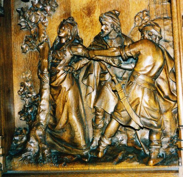 www.heiligen-3s.nl/heiligen/06/17/06-17-0640-alena-dilbeek.php +++ Alena wordt achterhaald; de achtervolgers draaien haar een arm uit. 18e eeuw, houtreliëf. België, Vorst (bij Brussel), St-Denijs.
